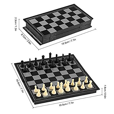"""G-Tree Chess Game Set Folding Plastic Chessboard International Standard Chess Portable Educational Toy Game( Size:7.7"""" x 7.7""""), Black and White"""
