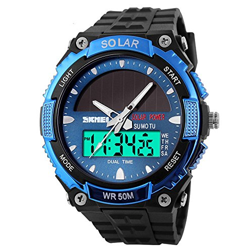 mylooverleo Mens Sport Watch Solar Powered Analog Digital Wristwatch Waterproof Wrist Watch Dual Time Chronograph Stopwatch Hourly (Dual Time Chronograph)
