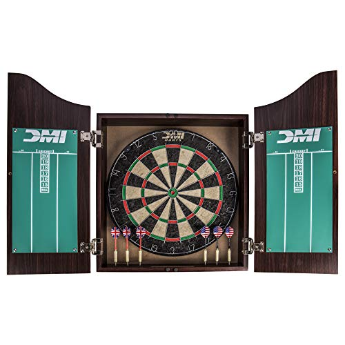 - DMI Sports Deluxe Bristle Dartboard Cabinet Set Includes Two Steel Dart Sets with Rustic Rosewood Finish