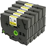 5 Pack Compatible TZe-621 TZ-621 TZe621 TZ621 Label Tape Replace with Brother P-Touch PT-D400 PT-D210 PT-D200 PT-200, Black on Yellow, 3/8'' 26.2ft (9mm x 8m), ANMO