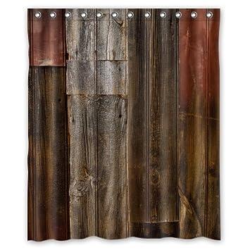 Waterproof Decorative Rustic Old Barn Wood Art Shower Curtain 60u0026quot ...