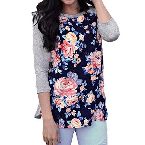 Bekleidung Longra Frauenmode Floral Spleißen Dreiviertel Sleeve T-Shirt