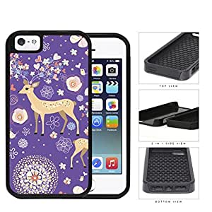 Reindeer With Flower And Heart Horns Purple 2-Piece Dual Layer High Impact Rubber Silicone Cell Phone Case Apple iPhone 5 5s