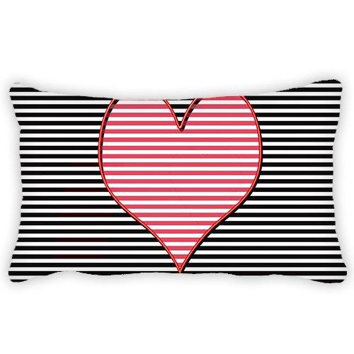 Blanco y Negro Patrón de rayas funda de almohada corazón ...