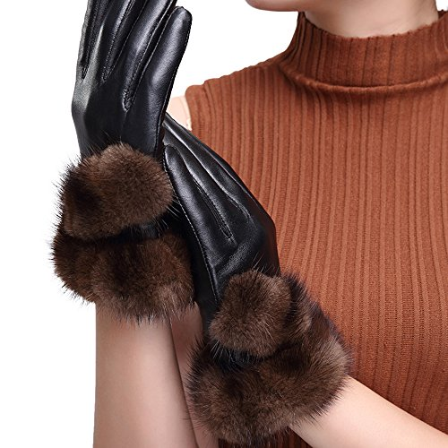 hscreen Mink Fur Cuff Lambskin Leather Gloves with Fleece Lining ()