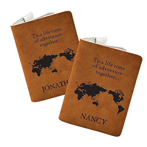 Couple passport holder Set of 2 - Personalized with your Names