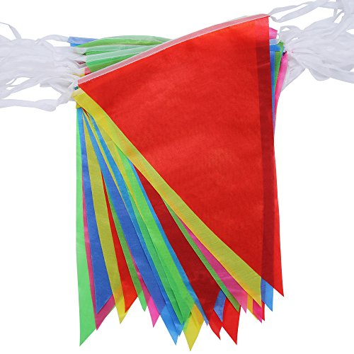Walolo 164 Foot Pennant Banner - 75 Multicolor Bunting Flags - Party Wedding Birthday Grand Opening Festival Decorations