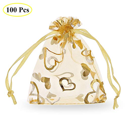- SumDirect 100Pcs 3.5x4.7 Inches Sheer Drawstring Heart Organza Jewelry Pouches Wedding Party Christmas Favor Gift Bags (Gold)