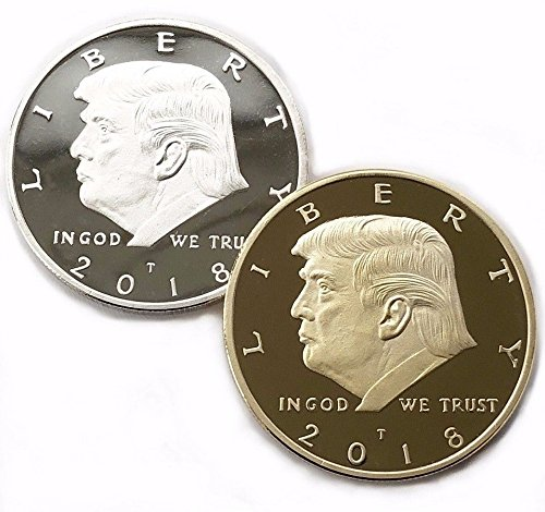 2018 DONALD TRUMP GOLD AND SILVER 38MM DOLLAR COINS 2 PACK (Usa Dollar Coins)