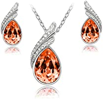 Nakabh Valentines Collection Elegant Red Austrian Crystal TearDrop Pendant and Earrings Combo For G