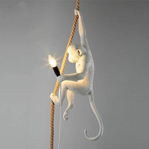 Vintage Resin Hemp Rope Monkey Pendant Lamp