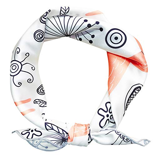 GERINLY Summer Silk Head Scarf Fox Print Women Neckerchiefs Shirts Accessory (White Beige)