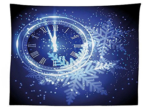 vipsung Clock Decor Tablecloth Countdown to New Year Theme A Clock Holiday Lights and Snowflakes Pattern Design Dining Room Kitchen Rectangular Table Cover Blue
