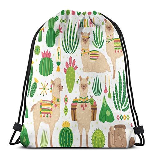 Cute Llamas Cacti Summer Drawstring Bag Backpack Travel Gymsack Drawstring Backpack -