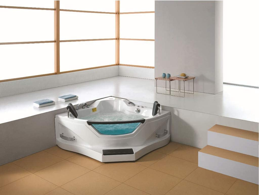 2 Person Luxury Massage Hydrotherapy Recessed Corner Bathtub Tub Whirlpool With Foot Step Bluetooth Remote Control Inline Water Heater And 16 Total Jets