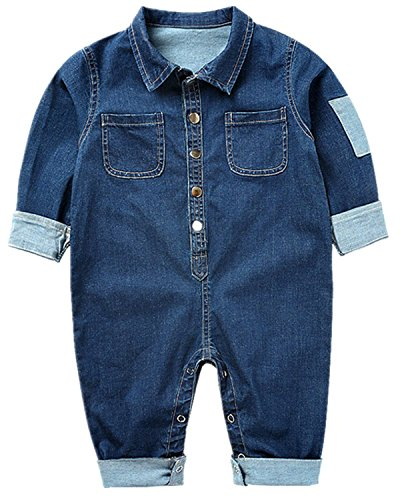 Toddler Baby Boys Girls Long Sleeve Denim Romper Jumpsuit Outfit Clothes,6-12 Months,Dark Blue -