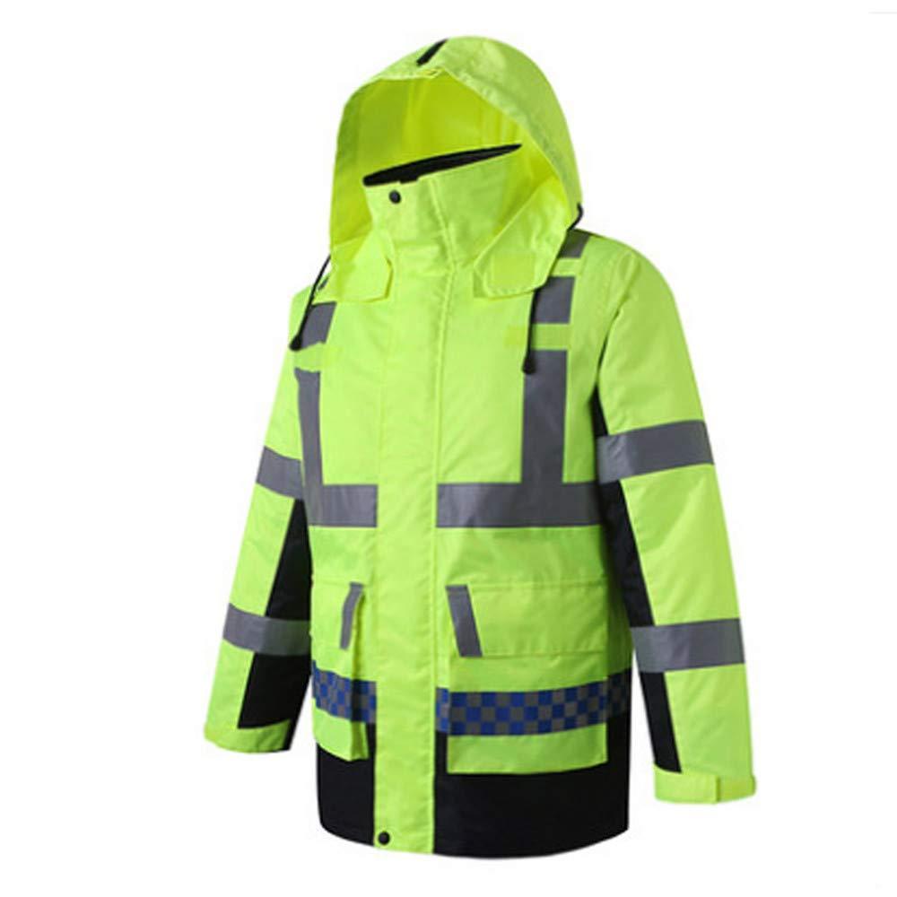 SXZHSM-Toy model Detachable Cotton Coat, Reflective Raincoat, Reflective Clothing, Traffic Duty, Raincoat, Construction, Raincoat, Riding Raincoat Reflective Vests (Size : XL) by SXZHSM-Toy model (Image #2)