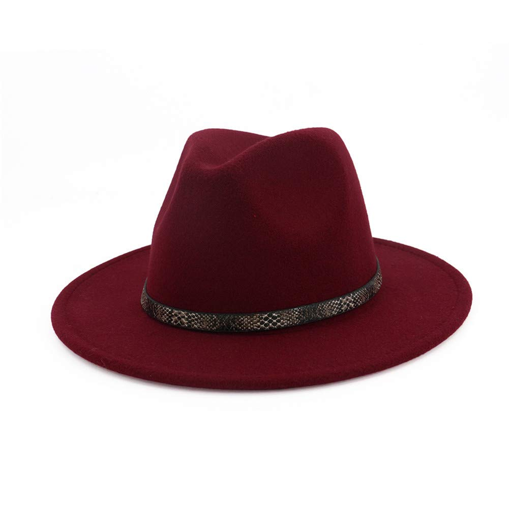 BaZhuaYu  Men & Women's Wide Brim Fedora Hat with Band Unisex Felt Panama Cap D-Red M (Head Circumference 22''-22.8'')
