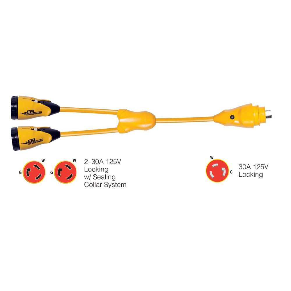 1 - Marinco Y30-2-30 EEL (2)30A-125V Female to (1)30A-125V Male ''Y'' Adapter - Yellow