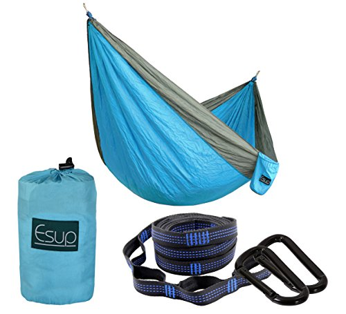 Esup XL Camping Hammock -Multifunctional Lightweight Nylon Portable Hammock, Best Parachute Hammock for Backpacking, Camping, Travel (Sky Blue/Gray, 118