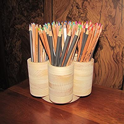 7 Cup Studio Rotating Colored Pencil Storage Holder Organizer, Holds 200+ Pencils, Cosmetic Makeup or Paint Brushes