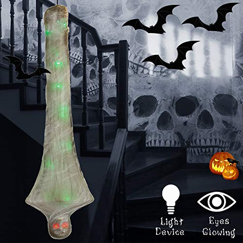 Superjare 72 Inch Halloween Props Cocoon Corpse, Halloween Outdoor Decorations, Hanging Scary Mummy Decorations with Light-up Eyes and Spider Cover, Party Yard Decor (Corpse Plant)