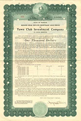 Town Club Investment Company - $1,000 Bond