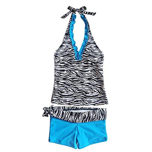 iEFiEL Big Girls' Youth 2 Piece Zebra Halter Tankini Swimwear Bathing Suit Blue Size 13-14 - 2 Piece Zebra Bikini