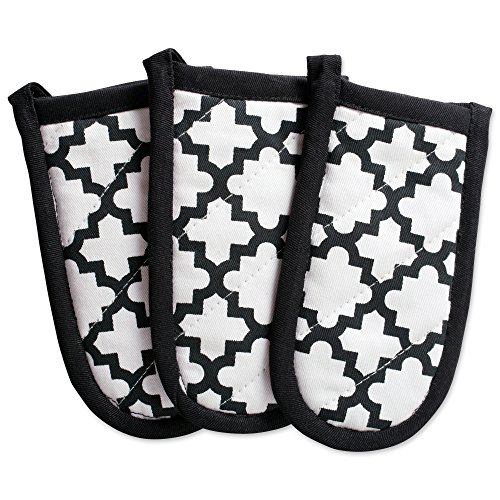 DII Cotton Lattiece Pan Handle Holders, 6 x 3 Set of 3, Machine Washable and Heat Resistant Pan Handle Sleeve for Kitchen Cooking & Baking-Wwhite