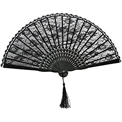 VORCOOL Spanish Victorian Hand Fan Wedding Party Favor Fancy Dress (Black)