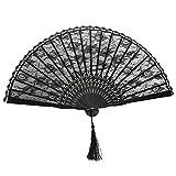 Tinksky Spanish Victorian Hand Fan for Wedding Party Favor Fancy Dress (Black)