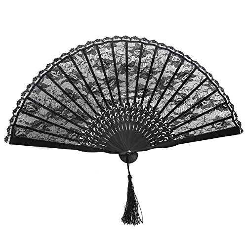 TINKSKY Spanish Victorian Hand Fan Black Lace folding fans Bamboo Hand Fans for Wedding Party Favor Fancy -