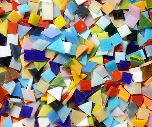 Lanyani Mix Glass Mosaic Tiles Pieces for Crafts, Mixed Shapes and Colors,1.1lb Bulk, Opaque
