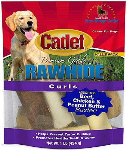 (Cadet Rawhide Curls Dog Treats, Assorted Beef, Chicken & Peanut Butter, 1 Pound, 16 Pack)