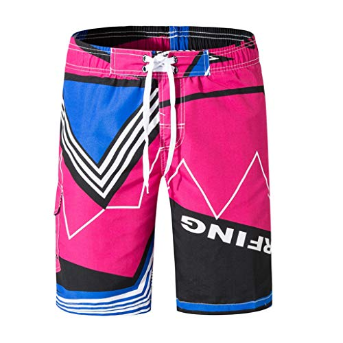 (Ninasill Hot!Men's Striped Colorful Straight Surfing Beach Shorts Large Size Tethered Sports Shorts Summer Swimming Pants)
