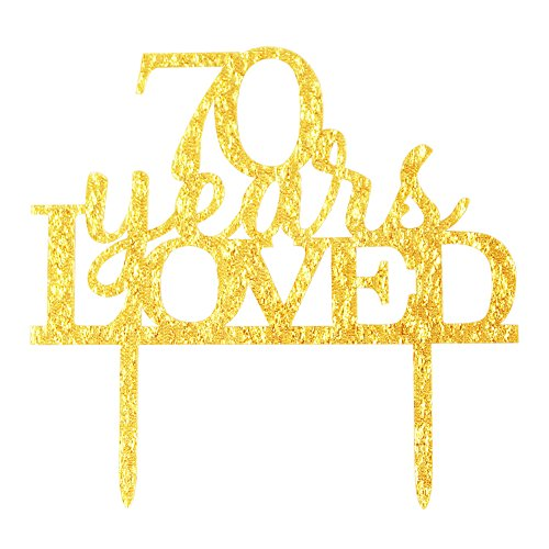 70% Acrylic (Glitter Gold Acrylic 70 Years Loved Cake Topper Decoration, 70th Birthday Anniversary Party Cupcake Topper Decor (70, gold))