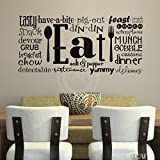 Eat (Phrases) wall saying vinyl lettering art decal quote sticker home decal (Black, 16x35)