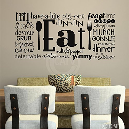 Sticker Lettering Decal Wall (Eat Phrases Vinyl Lettering Wall Decal Sticker (16