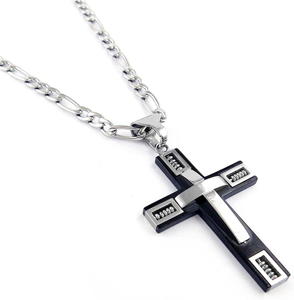 """Men/'s .925 Sterling Silver Crucifix Pendant Necklace 24/"""" Stainless Steel Chain"""