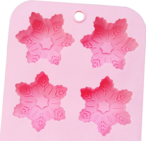 Mini Skater 2 PCS 6 Cavity Mold Non-stick Baking Silicone Snowflake Mold for Chocolate, Ice, Muffins & Soap⎟oven-microwave-freezer-dishwasher Safe⎟ (Snowflake Mold) by mini skater