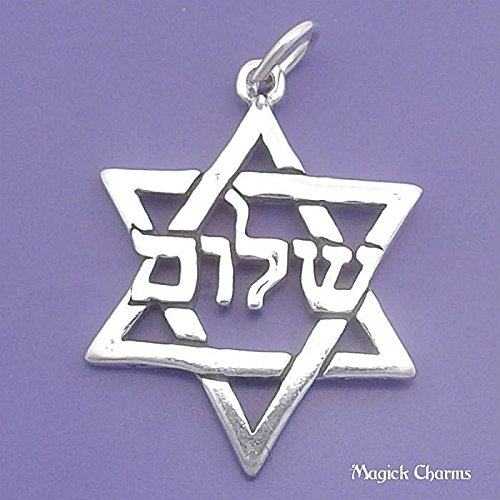 925 Sterling Silver Jewish Star of David Charm Hebrew Shalom Pendant Jewelry Making Supply, Pendant, Charms, Bracelet, DIY Crafting by Wholesale Charms