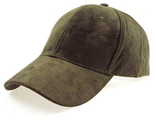 RufnTop Classic Faux Leather Suede Adjustable Plain Baseball Cap(Olive OS)