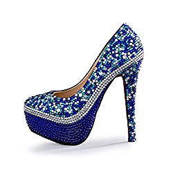 High Heels Closed Toe Pumps With Crystal