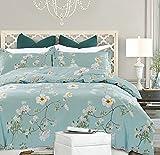 NANKO Bedding Duvet Cover Set Queen, 3 Pieces - 800-Thread Floral Microfiber Down Comforter Quilt Cover Zipper & Tie for Women & Men's Bedroom, Luxury Guestroom Decor -Teal