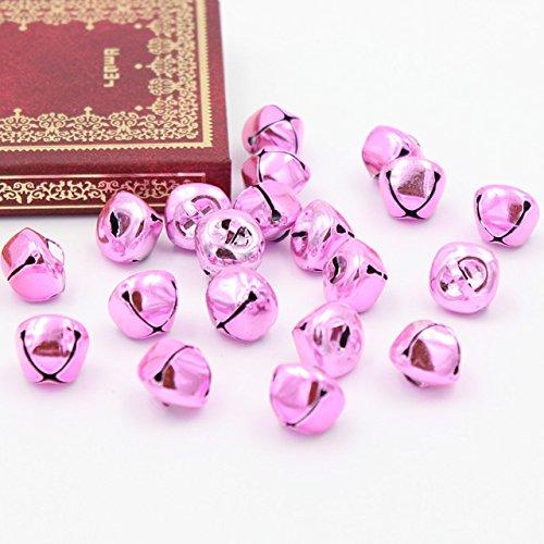 Topxome 20Pcs/Lot Mini Iron Loose Beads Jingle Bells Christmas Decoration Pendants DIY Crafts Handmade Accessories Size 14x14x13mm (pink)