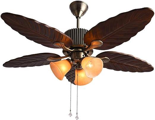HHCES Luz de ventilador de madera, lámpara de bronce de ventilador ...