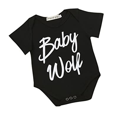 Digood For 0-18 Months Baby, Newborn Infant Baby Boy Girl Short Sleeve Letter Print Shirt Cool Romper Jumpsuit Clothes