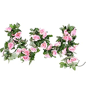 "M2cbridge Artificial Silk Rose Garland Flower Ivy Garland 86"" Home Hanging Wedding Decor, 2 Strands (Light Pink) 54"