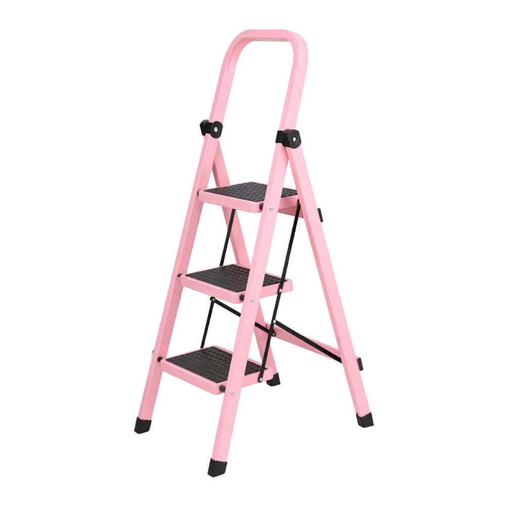 Step Stools Folding Step Stool for Adult/Seniors, 3 Step Ladder with Hand Grip, 330lbs Capacity, Anti-slip Ladders with Wide Pedal, 19×22×44inch (Color : Pink)