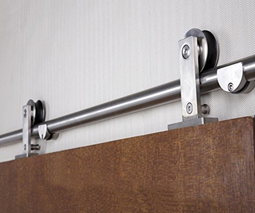 DIYHD 5FT Stainless Steel Top Mounted Bi-parting Sliding Barn Closet Cabinet Wood Door Track Hardware Kit by DIYHD (Image #1)